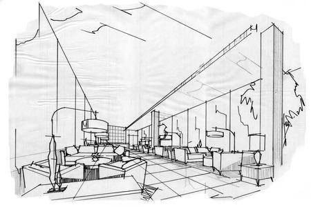 schets interieur perspectief lobby lounge, zwart en wit interieur.