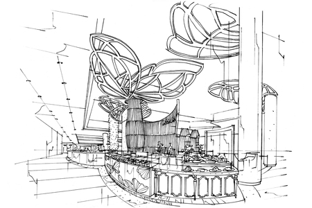 sketch: sketch interior perspective Countertop Store, black and white interior design.