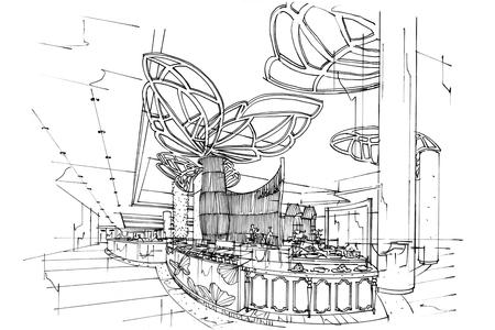 countertop: sketch interior perspective Countertop Store, black and white interior design.