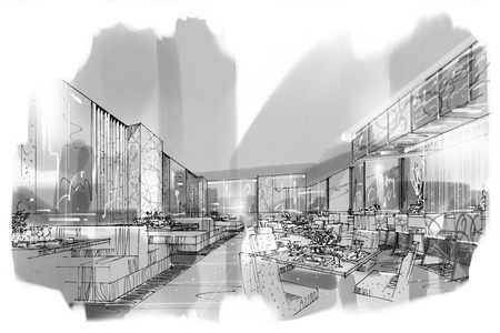sketch perspective stripes all day, black and white interior design.