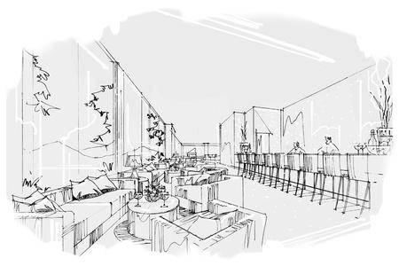 schets perspectief strepen hele dag, zwart en wit interieur.