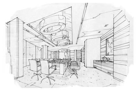 croquis intérieur perspective salle de réunion, design d'intérieur en noir et blanc.