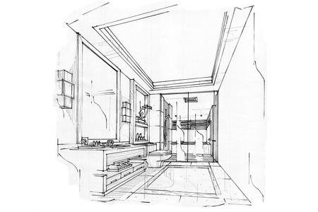 스케치 내부 관점 욕실, 흑백 인테리어 디자인.