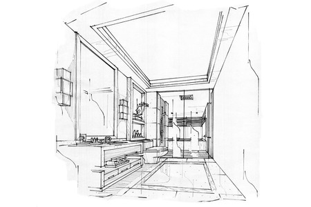 sketch interior perspective BATH ROOM, black and white interior design.