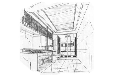 bath room: sketch interior perspective BATH ROOM, black and white interior design.