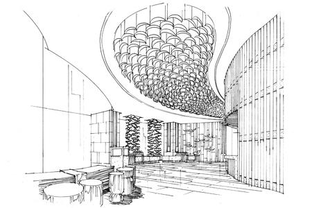 sketch interior perspective lobby, black and white interior design.