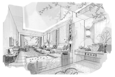 bath room: sketch stripes bed room & bath room , black and white interior design. Stock Photo