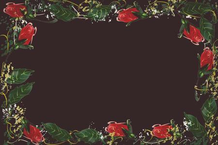 red rose black background: Digital Painting pattern red rose. black background Stock Photo