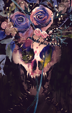 villain: Watercolor painting Demon King skull Crown decorated with flowers