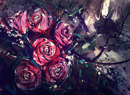 art painting: Watercolor painting style roses Abstract Art.