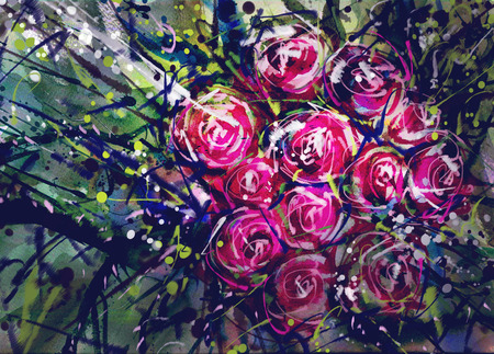 panicle: Watercolor painting style roses Abstract Art.