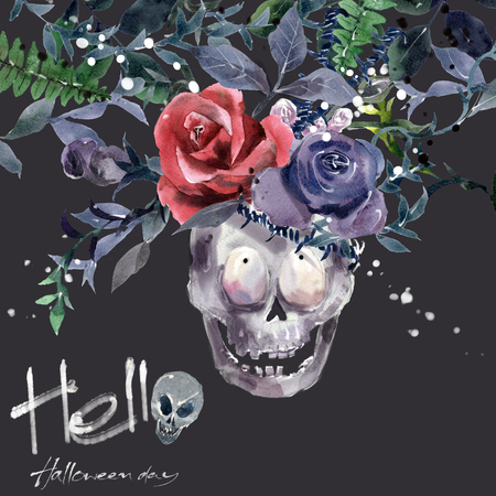 skull with crown: Watercolor painting Demon King skull Crown decorated with flowers
