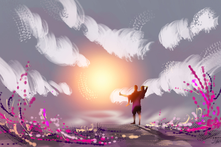 sunsets: Digital painting couples stood watching sunsets. The natural beauty