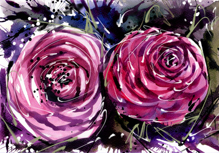 panicle: Watercolor painting Flower bouquets rose style Abstract Art.