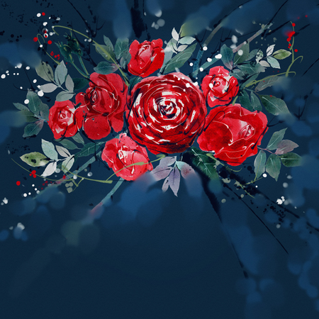 Watercolor painting Flower bouquets rose red .There is space to put a message