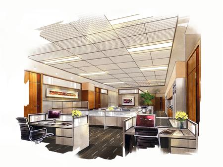 Bürogestaltung Skizzen Aquarelle. Standard-Bild - 67193070