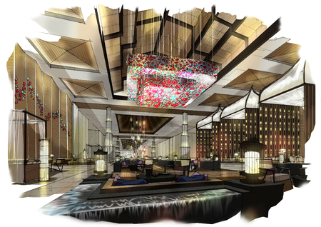 lobby hotel design sketches to watercolors. Stock Photo