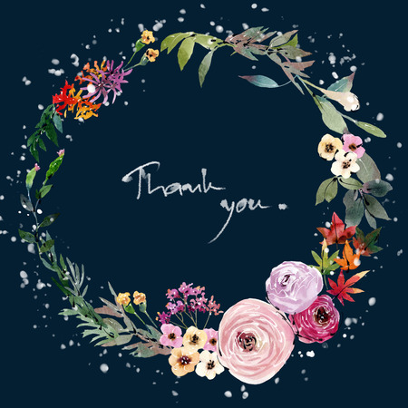 precisely: Watercolor painting Crown precisely cut flower style There is space to put text Needles on a blue background Stock Photo