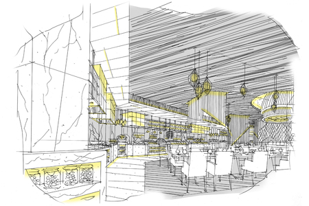 all day: sketch interior perspective stripes all day., black and white color