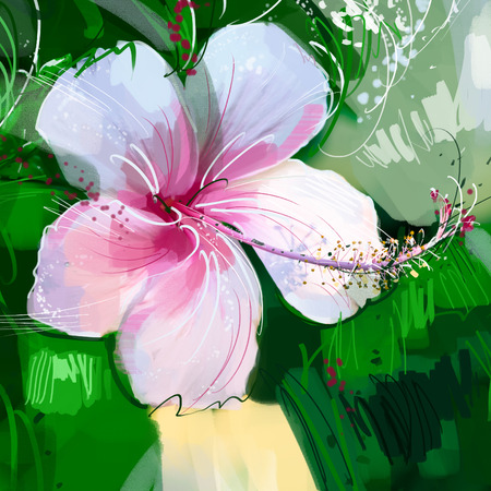 painting Pink hibiscus flower Stock Photo