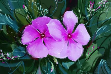 painting Purple flowers Stock Photo