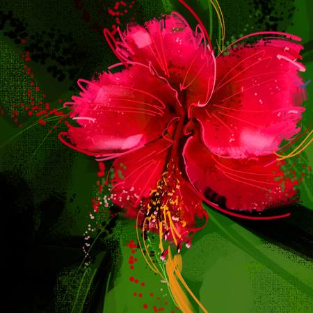 painting Red hibiscus flower