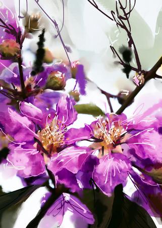 digital painting purple flowers watercolor style , Lagerstroemia
