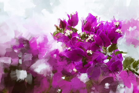 sultry: Illustrations bougainvillea pink visual style oil paintings - Stock Image