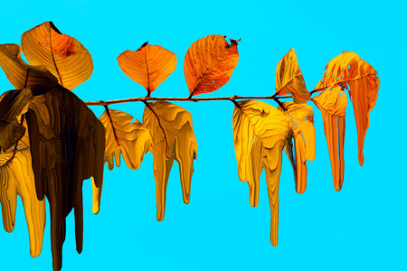 digital painting leaves are falling. Stock Photo
