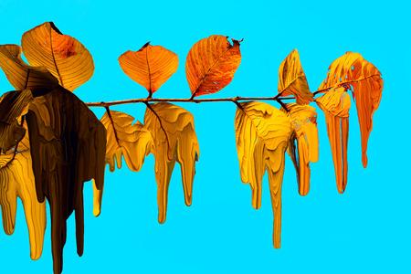 digitale schilderij bladeren vallen.