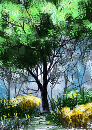 digital Painting illustration.Lifestyle,Big tree in the forest Stock Photo