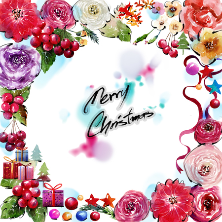 precisely: Watercolor painting Frame flowers precisely cut flower style There is space to put text Needles on a White background