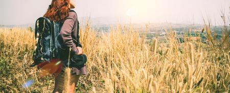 Female travelers travel nature mountain