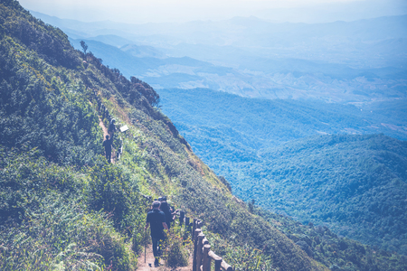 Tourist trips, nature trails along the mountain ridges. Blue sky, fresh air, sunlight shines through. Thailand chiangmai doiinthanon kew-mae-pan