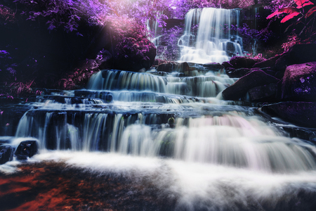 Natural background waterfall. waterfall Colorful leaves Stock Photo - 75101663