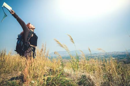 Female travelers travel nature mountain map navigation