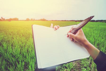 Vrouw hand schrijven studie Natuurlijke rijstvelden op het platteland Avondzon