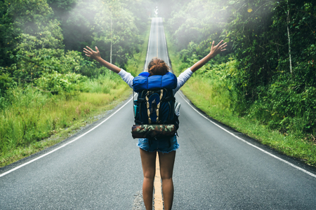 Asian women travel relax in the holiday. on the roadNatural route. Thailand Stockfoto