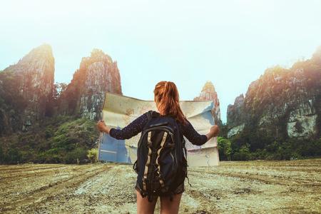 Asian women travel sleep relax. Female travelers travel nature mountain map navigation. Thailand