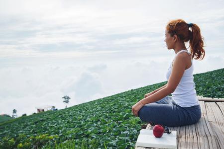 woman asia travelers travel. Play if yoga. phetchabun phutubberg thailand Stock Photo