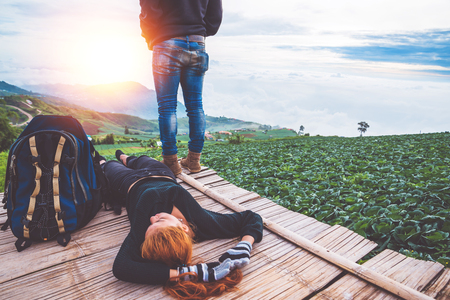 Lover Men and women Asia travel relax. Morning atmosphere nature Forests, mountains. Phu Thap Buek Thailand