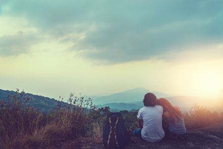 Natural background Couples lovers. The sun rises in the morning on the mountain.  thailand doi inthanon