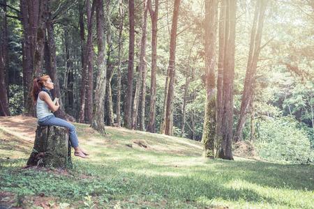 읽기 여성은 공원, 소나무 숲, 휴양림에서 휴식을 취하십시오.
