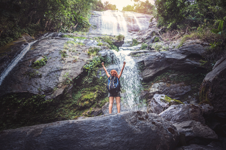 Women travel. woman asia travelers travel nature Forests, mountains, waterfalls