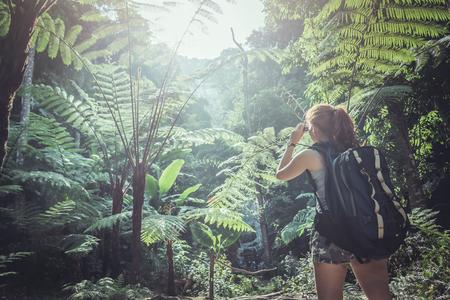 woman asia travelers travel nature Forests, mountains. chiangmai doiinthanon Thailand Stock Photo