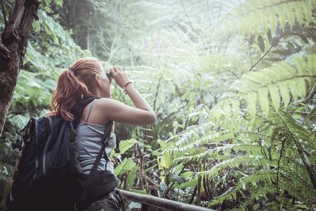 woman asia travelers travel nature Forests, mountains. chiangmai doiinthanon Thailand 版權商用圖片