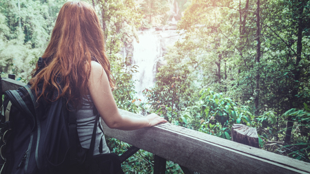 woman asia travelers travel nature Forests, mountains, waterfalls