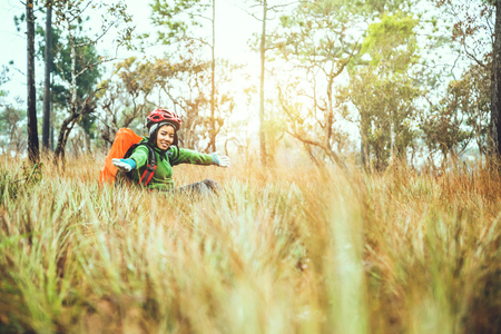 Asian woman travel  Nature. Travel relax. Touch natural mountain meadow. walk in the forest. Thailand