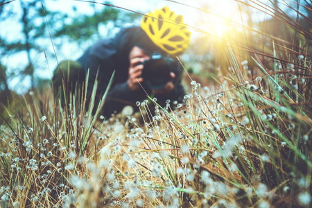 Photographer  asian man travel  nature. Travel relax.  Nature Study in the Jungle. Eriocaulon henryanum Ruhle. Thailand Stock Photo