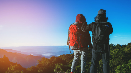 Lover woman and man Asian travel nature. Travel relax. Natural Touch countryside. On the Moutain. Thailand